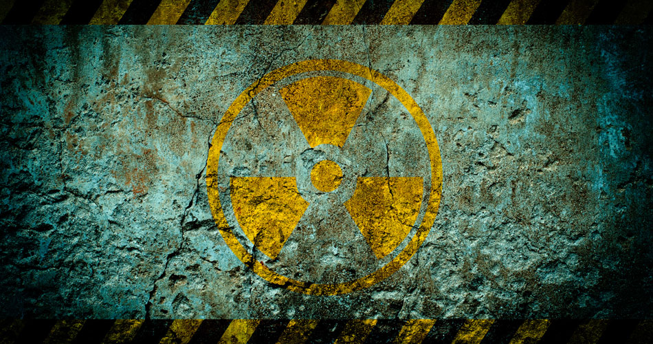 A weathered and distressed radioactive symbol