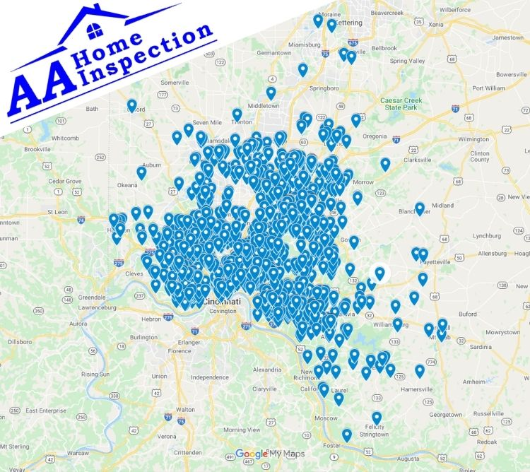AA Home Inspection Cincinnati Completed Inspection Map