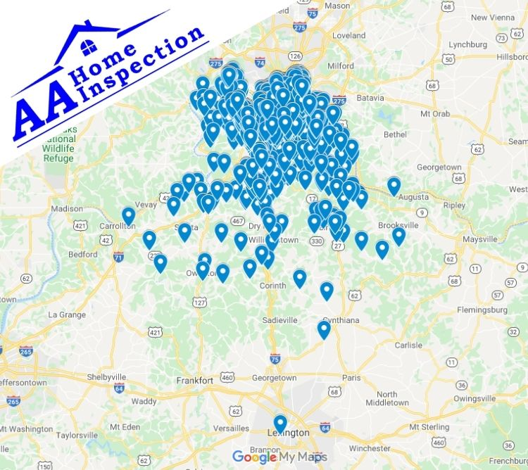 AA Home Inspection Northern KY Completed Inspection Map