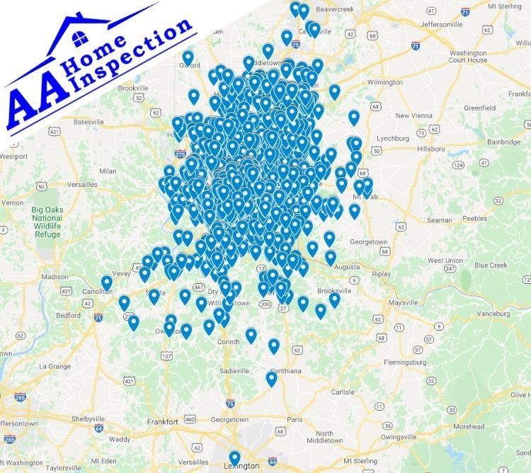 AA Home Inspection OH and KY Completed Inspection Map