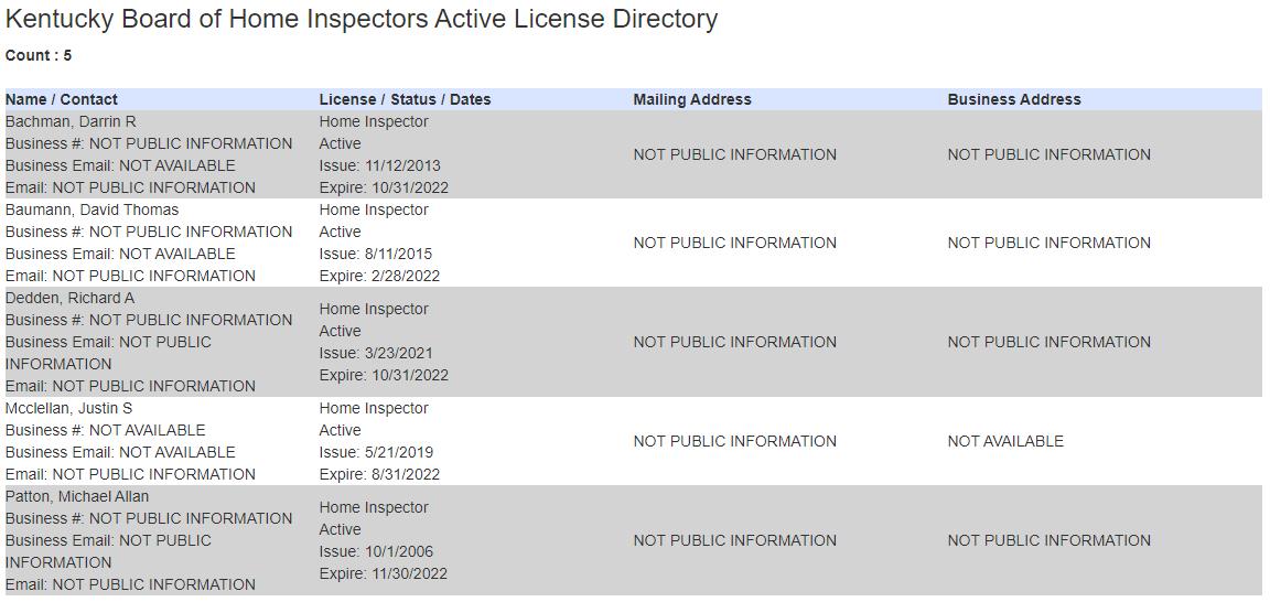 AA Home Inspectors Licensed in Kentucky