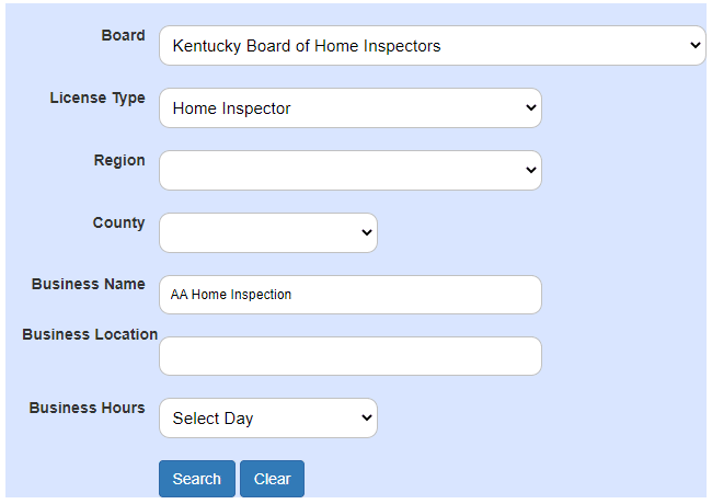 KY Home Inspector License Lookup